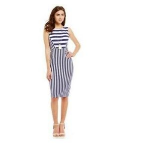 NEW Cremieux Midi Sheath Dress Striped Navy & Blue